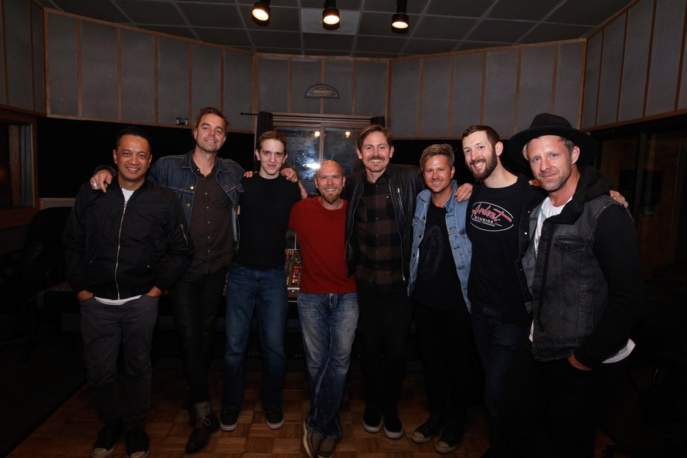 Studio A | L-R: Jerome Fontamillas, Drew Shirley, Andrew McNeill (assistant), Mike Wilson (engineer), Chad Butler, Tim Foreman, Ryan Wiley (General manager), and Jon Foreman ©ChrisTownsend