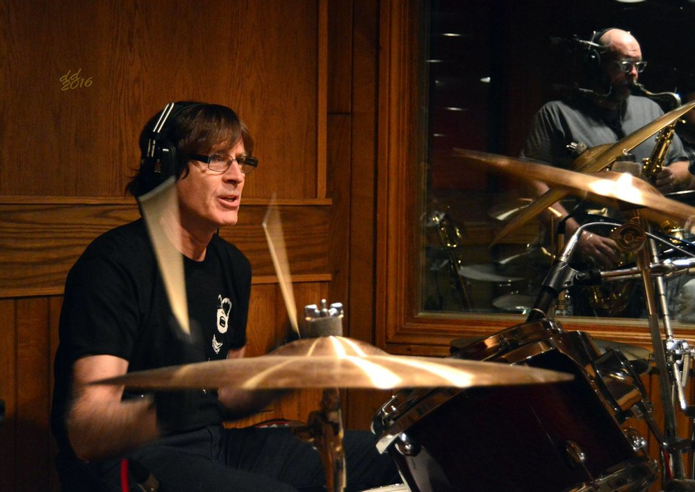 Studio C | Jody Stephens guest drumming on a track ©DannyDay