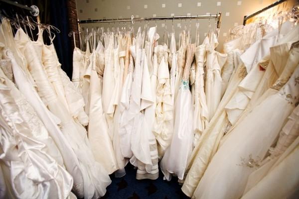 Rack of wedding dresses, Jesse Ranch