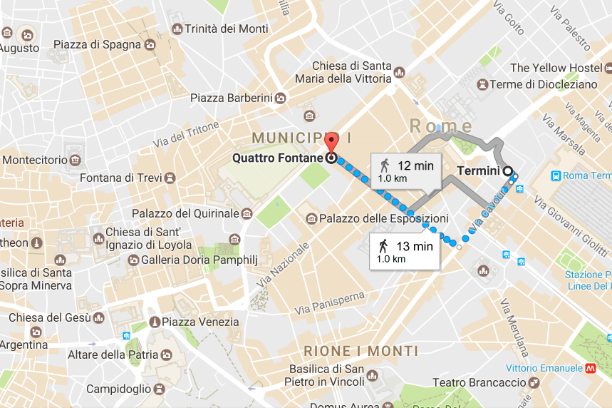 1. From Termini to Quattro Fontane