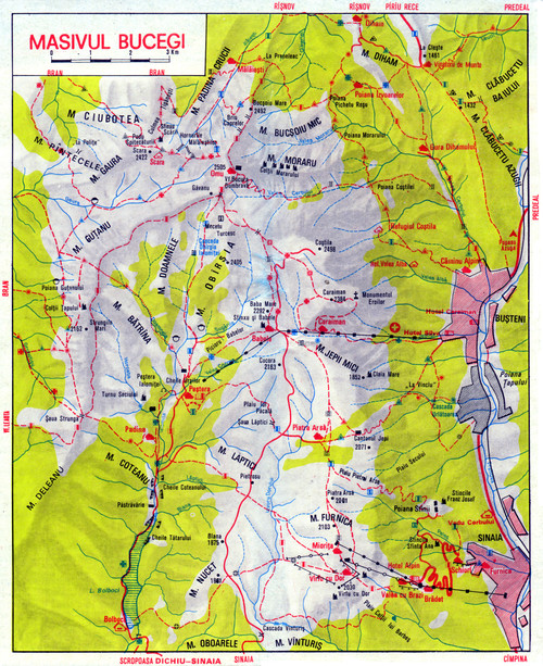 Map of Bucegi trails; Malaiesti section is at the top.