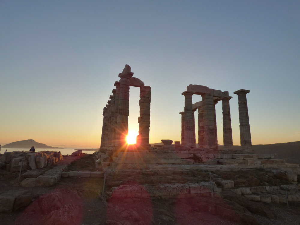 The sunset seen from the Temple of Poseidon at Cape Sounio (Attica)