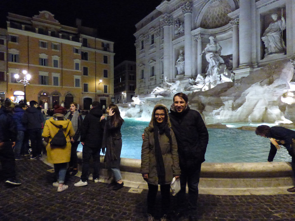Here we are, frozen, in front of the Trevi Fountain