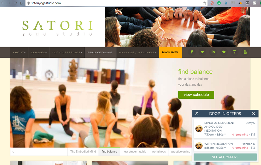 Announcement idea from  Satori Yoga Studio : include a pop-up on the homepage showing upcoming workshops.