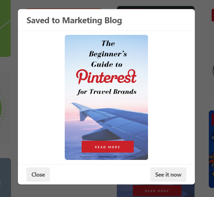 "Success! Pin saved to my board ""Marketing Blog"""