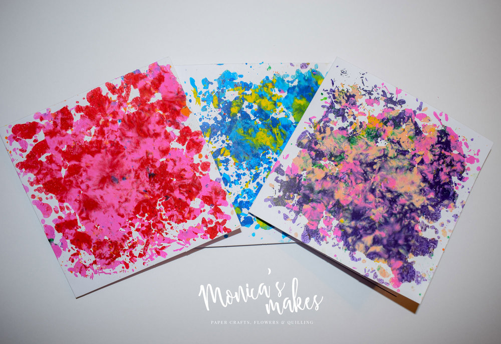 How to Make Beautiful Cards with Wax Crayon Shavings - See the full tutorial at www.monicabadiu.com