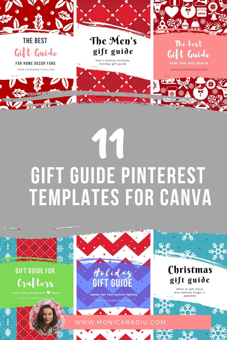 FREEBIE alert: Get 11 Canva Templates for Beautiful Gift Guide Pins - www.monicabadiu.com