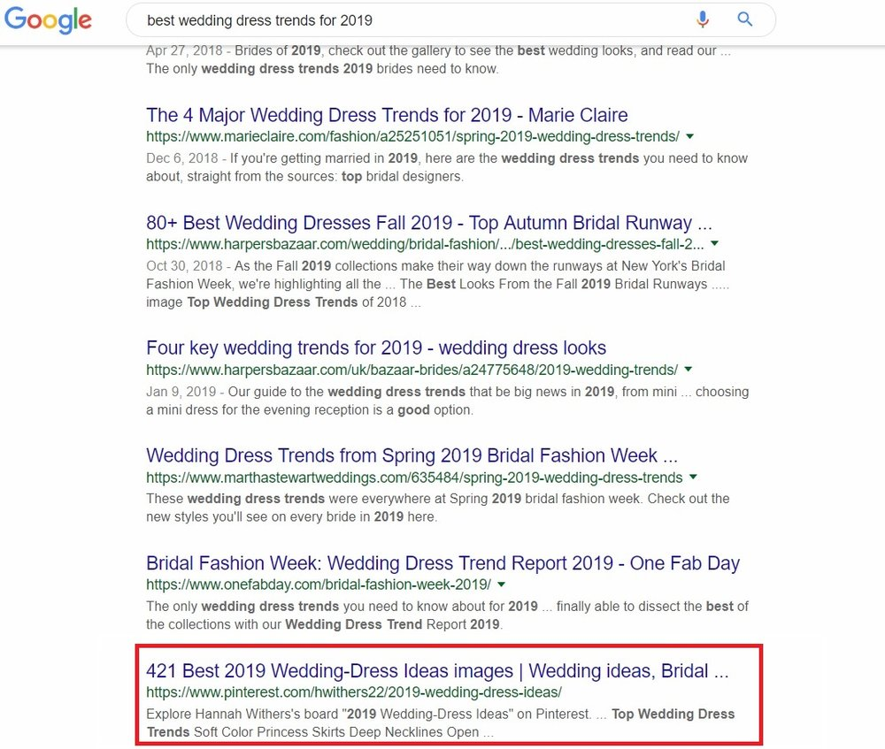 In this query, a Pinterest users appears 10th in the first page of results with competition such as Martha Stewart Weddings, Harper's Bazaar, and Marie Claire.