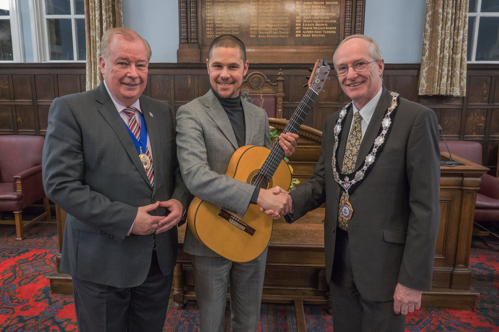 Thank you Peter J Farmer (President, Ilkley Camera Club) for taking this superb photo of Samuel with Councillor Gibbons and Council Chairman Steve Butler following his performance.