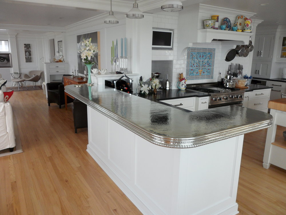 designs pewter countertops tops images photos house transitional bar amp