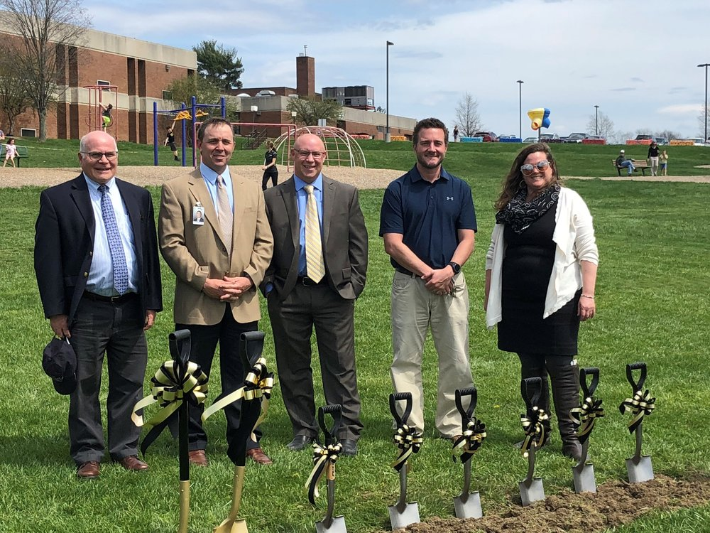 L-R: Dave Esposito, Principal - Eckles Architecture, Dr. Jeff Finch, Superintendent - Grove City Area SD, Mark Scheller, Principal - Eckles Architecture, Brian Fulkerson, Project Manager - Eckles Construction Services, and Dr. Constance Nichols, President - Grove City Area School District School Board.