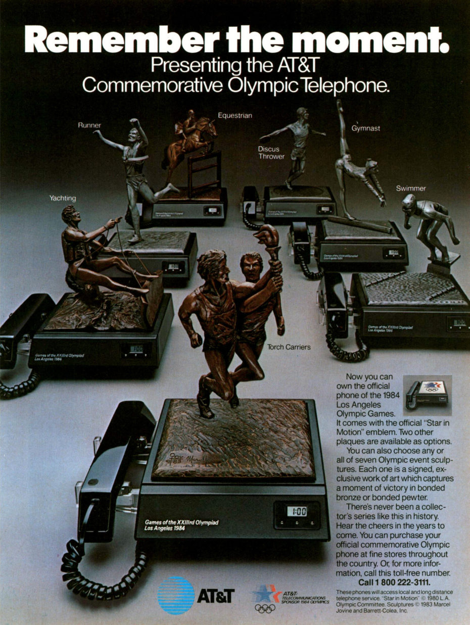 """wilwheaton :      advertisingpics :   """"Remember the moment. Presenting the AT&T Commemorative Olympic Telephone."""" [1984]    There has been a LOT of stupid merch made for the Olympics, but WOW does this earn a slot in my top ten."""