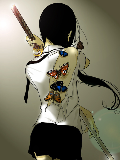 dummy-kanji :     Japanese Sword and Butterfly  by  nanasie