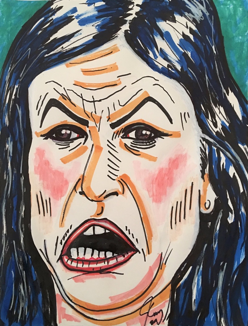 yeahiwasintheshit :    Lol Jim Carrey drew this portrait of Sarah huckabee sanders   Pretty spot on