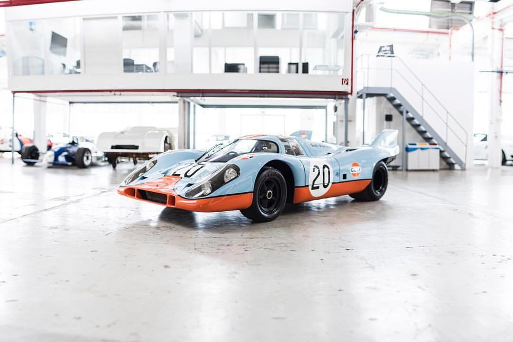 917k    #carcorners #porsche917k #lemans #porsche #917k #racecar #gulf #secretwarehouse #holyhalls #racinglegend #racing🏁 #germanengineering #legend #legendary #stevemcqueen  (at Porsche Museum)