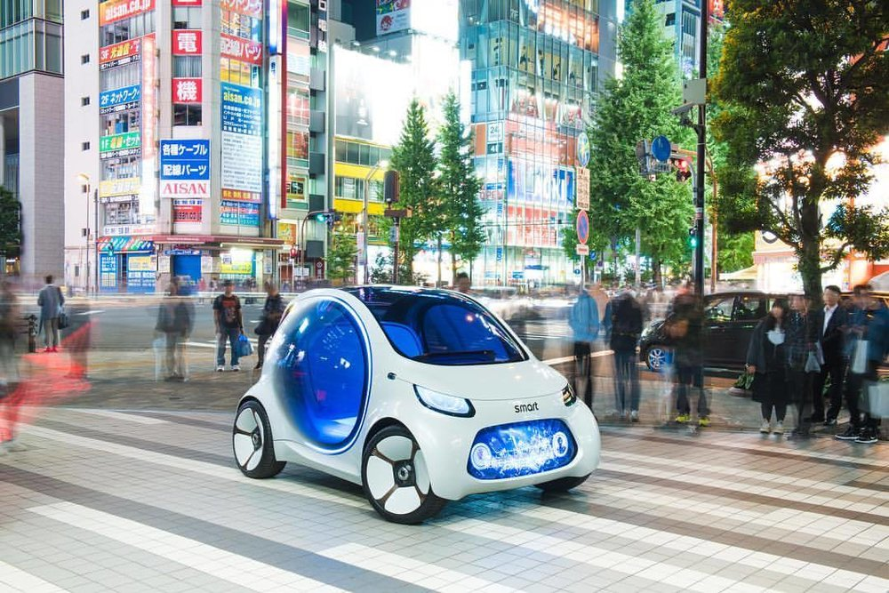 """""""Good day, how can I help you?""""  """"Hi there, uhm, a piece of future please. Not too big, not too small either!""""  """"Sure. here you go.""""  #smart #smartcar #smartvisioneq #eq #mercedesbenz #tokyo #japan #akihabara #futuremobility #instacar #carsofinstagram #autonomousdriving #megacity  (at Akihabara)"""