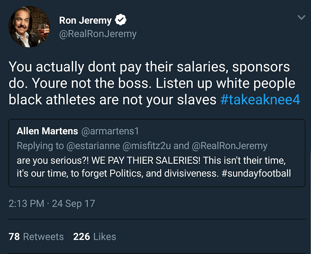 sixbucks :     alexbelvocal :      laurdlannister-kingslayer :       collierkid :    Ron Jeremy slanging dick and facts.    that was unexpected       What is going on in 2k17 ???      Ron Jeremy is a better speller than that other guy.