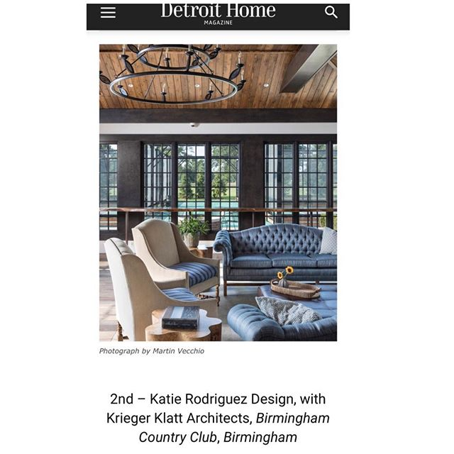 Sad to have missed the awards ceremony this year. But celebrating with the delivery of the April-May issue of #detroithomemagazine . Thrilled to have placed in the commercial lobby category. Thanks for the great honor @detroithomemagazine ! #dhda #interiordesign #interiordesignawards #newtraditional #countryclub #countryclublife #woodceiling #stripes #tuftedsofa #ottoman #liveedge #beams