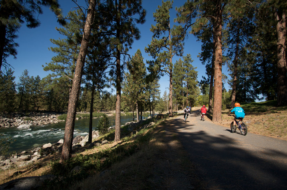 The Centennial Trail is perfect for biking or taking a stroll along the Spokane River.  (photo: Friends of the Centennial Trail).