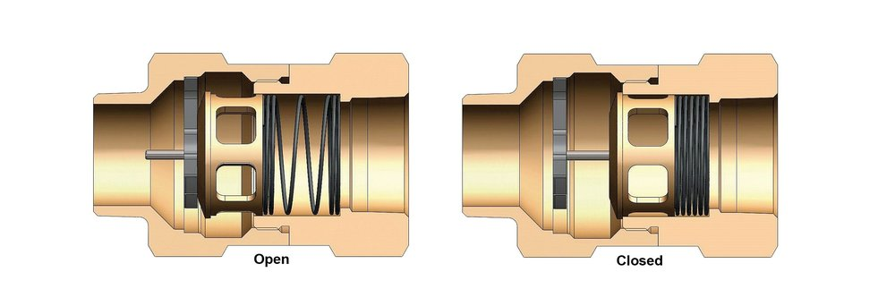 An internal spring stays open when flow rate is balanced -  The spring is forced closed when flow rate surges beyond the preset cutoff range of the valve.  The spring returns to the open position once the line is depressurized.