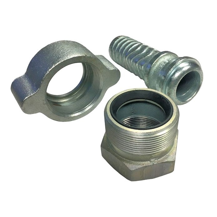 A ground joint female hose coupling includes  hose   stem, spud, and hammer swivel . The seal on the nose of the spud creates a tight seal when the swivel tightens it against the hose stem