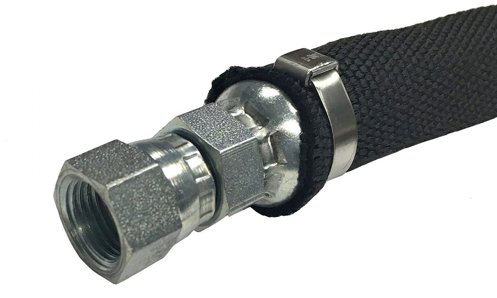 Hose Safety: - Nylon Hose Sleeves reduce the potential for hazardous uncontrolled fluid spray when a hose ruptures. The sleeve will saturate and the fluid will drip rather than spray outward.