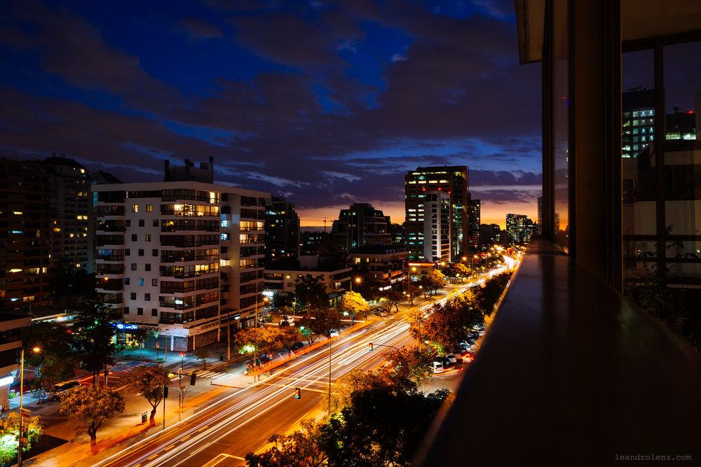 Atardecer desde el balcón en La Gloria, Las Condes.