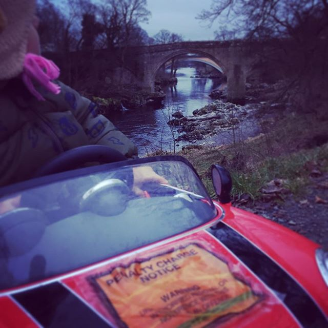 Driving by the river Lune in Kirkby Lonsdale - Marcus spent too much time admiring the view and got done #parkingticket #kirkbylonsdale #minicooper