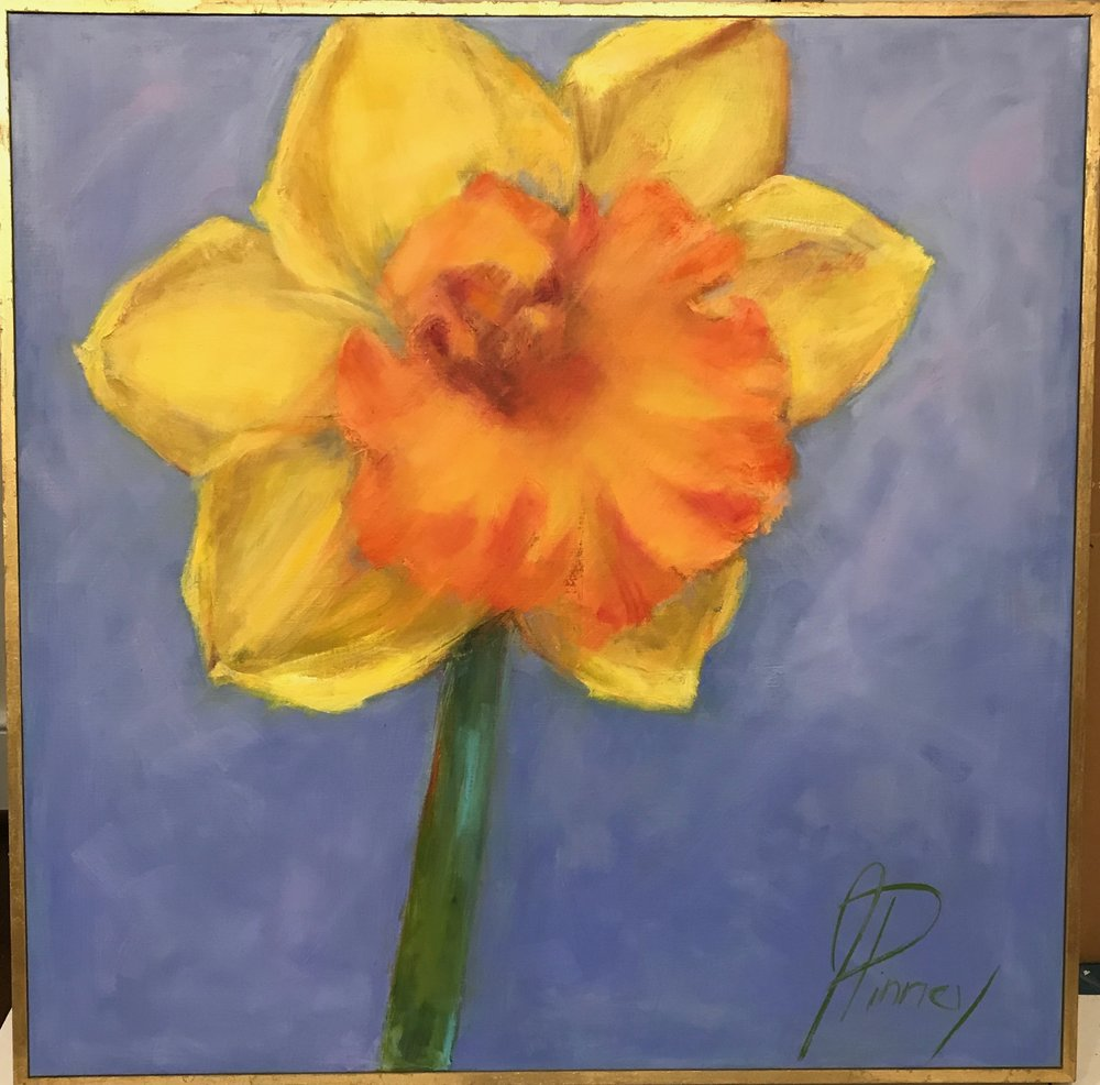 Blowing Daffodil 30X30 oil on canvas framed $575.jpg
