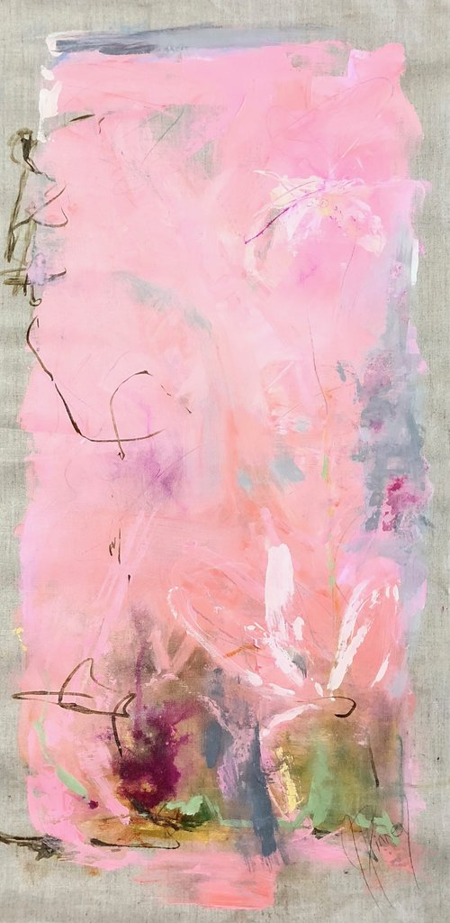 "Morning Glory 18""X36"" mixed media on  unstretched linen $700 SOLD"