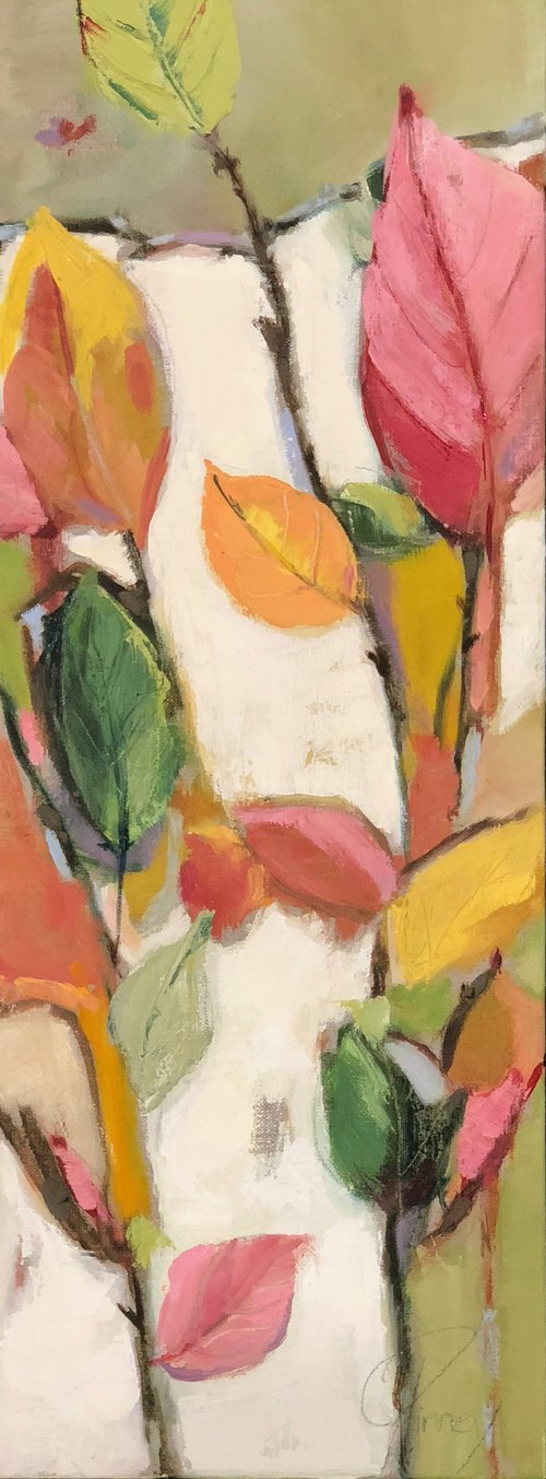 "Lovely Leaves 9""X24"" oil  on linen $465 SOLD"