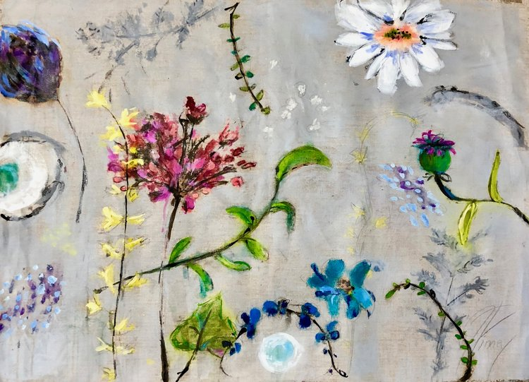 "Spring; 36""X26"" mixed media on unstretched linen; $900: SOLD"