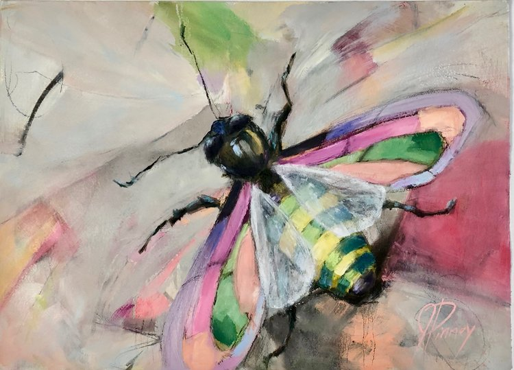 "Bee; 38""X29"" mixed media on paper; $1300: SOLD"