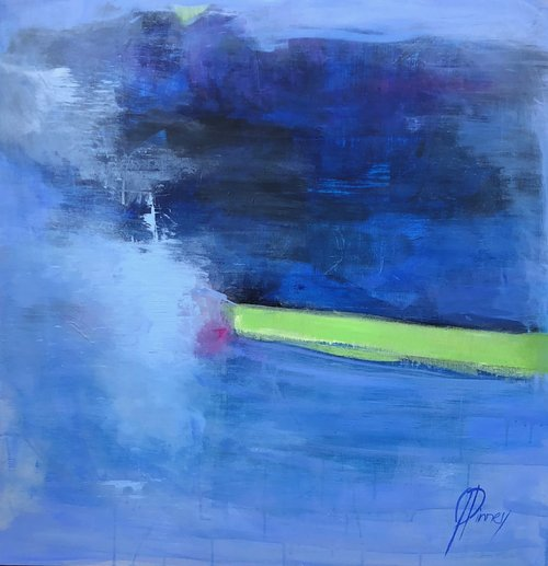 "Blue Shade; 36"" X 36""mixed media on board; $1600: SOLD"