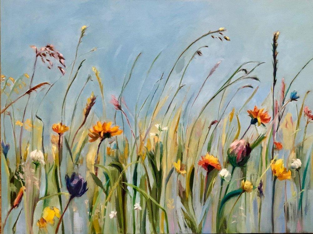 """Flower Field; 40""""x30"""" oil on linen; $1500: SOLD"""