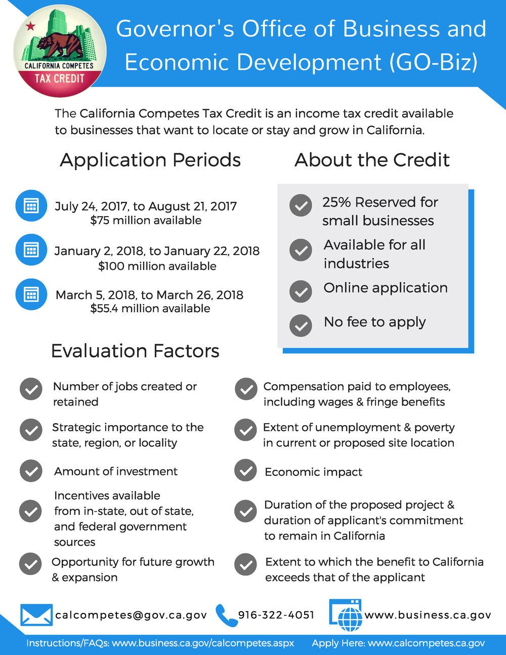 Cal Cometes Tax Credit Webinars 2018