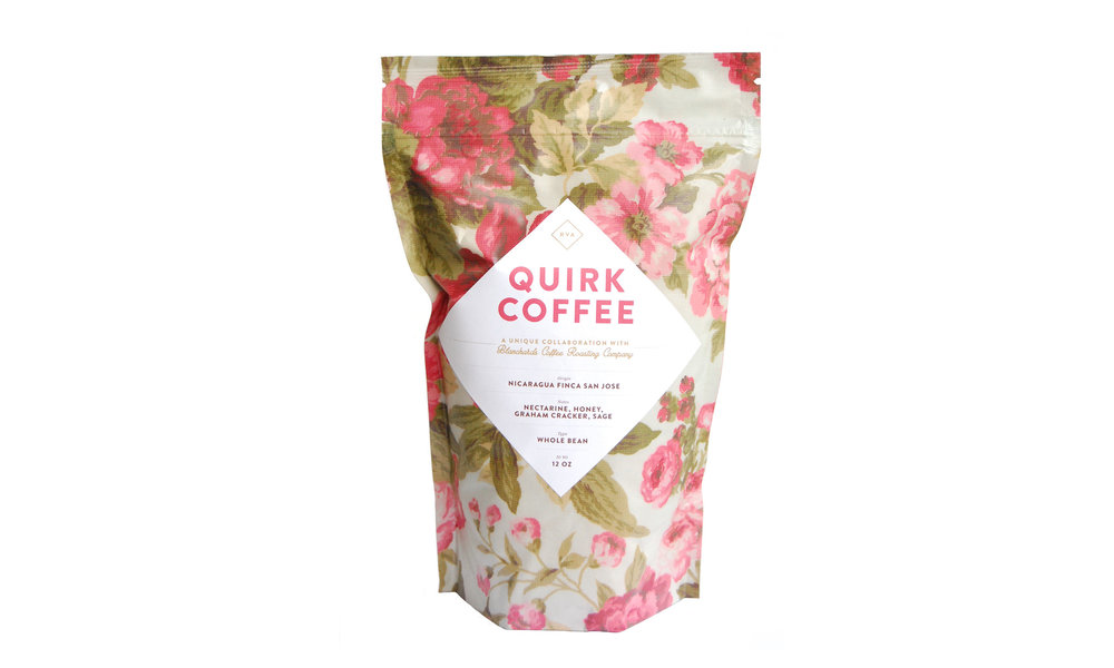 Quirk Whole Bean Coffee, exclusively from Blanchard's Coffee Roasting Company, $12 Contact us for purchase