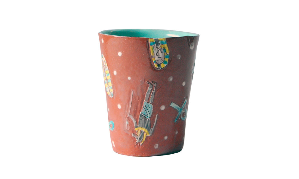 "Cup, earthenware clay, glaze, 3.25"" x 4"", $50 Contact us for purchase"