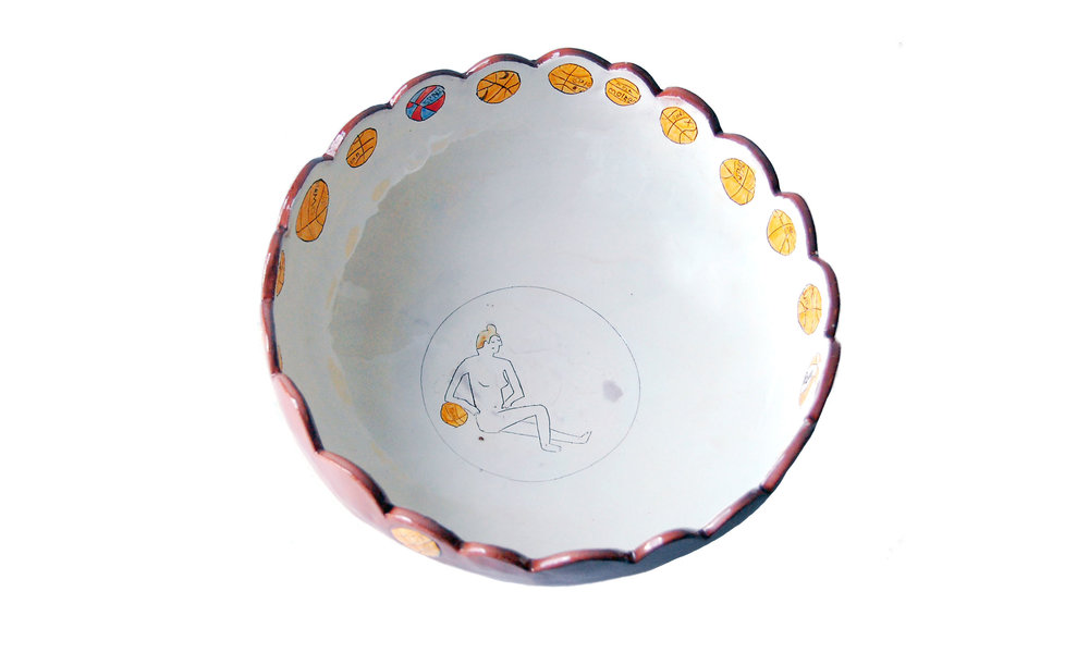 "Big Bowl II (interior), earthenware clay, glaze, approximately 4"" x 10"", $120 Contact us for purchase"