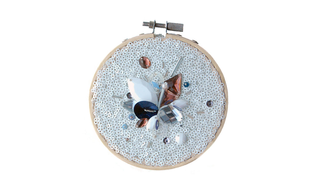 "Small Embroidery,  sequined mesh, sequins, beads, faux gems, wooden embroidery hoop, 1/2"" x 4.375"" circumference, $90    Contact us for purchase"