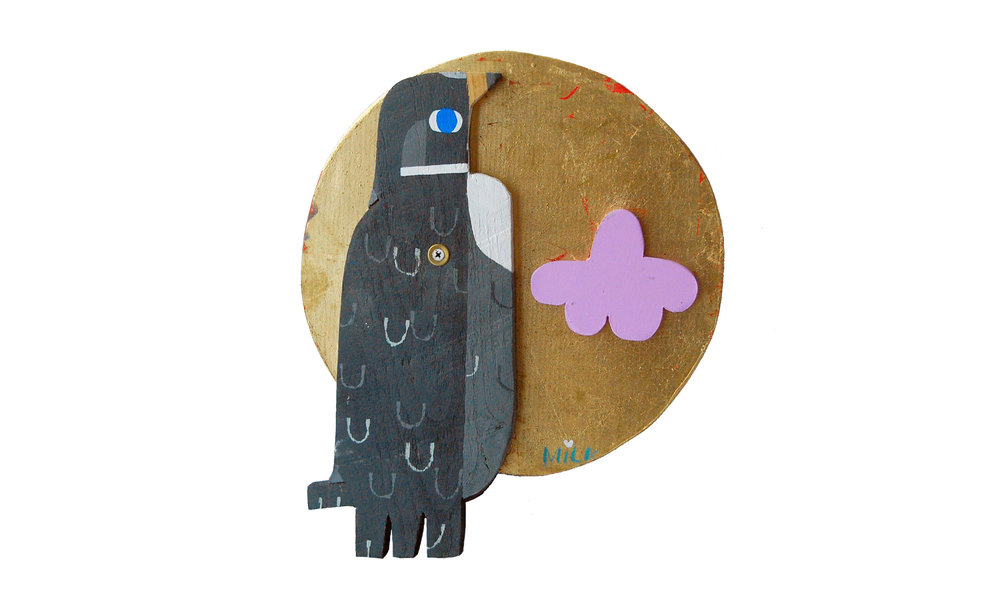 "Pigeon, paint and gold leaf on found wood, 1.5"" x 11.25"" x 13.5"", $300 Contact us for purchase"