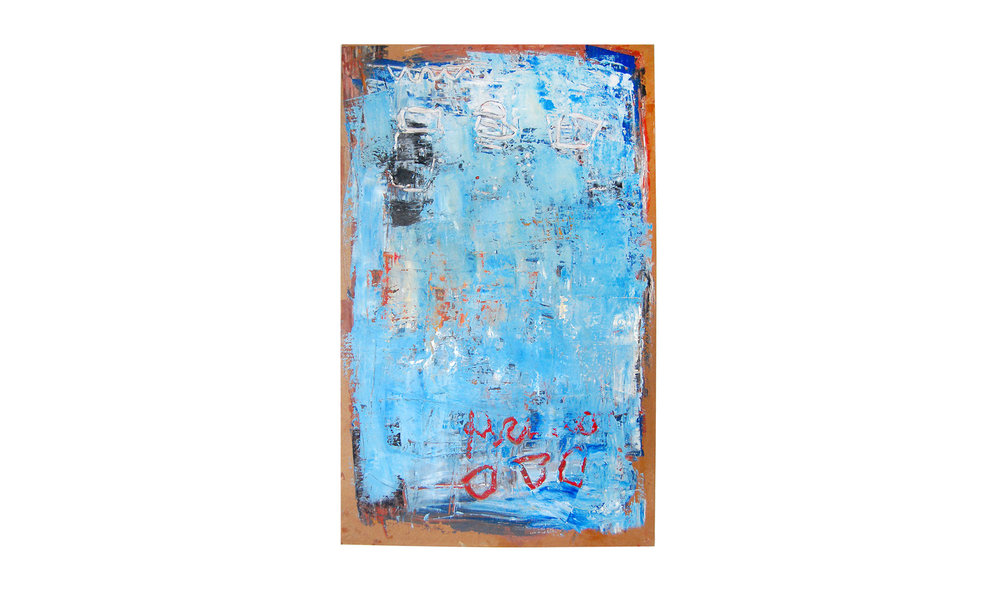 """Untitled (Blue),mixed media on cardboard, 29"""" x 40"""", $2000 Contact us for purchase"""
