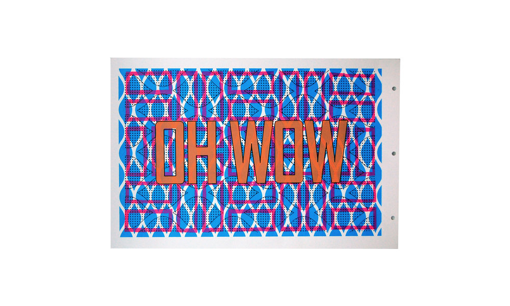"OH WOW, archival paper, screen printing ink, 12.5"" x 19.5"", $180 Contact us for purchase"