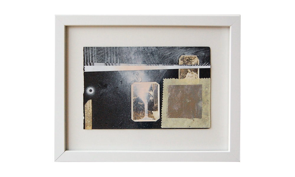 Square Space,  mixed media, found photos, $400    Contact us for purchase
