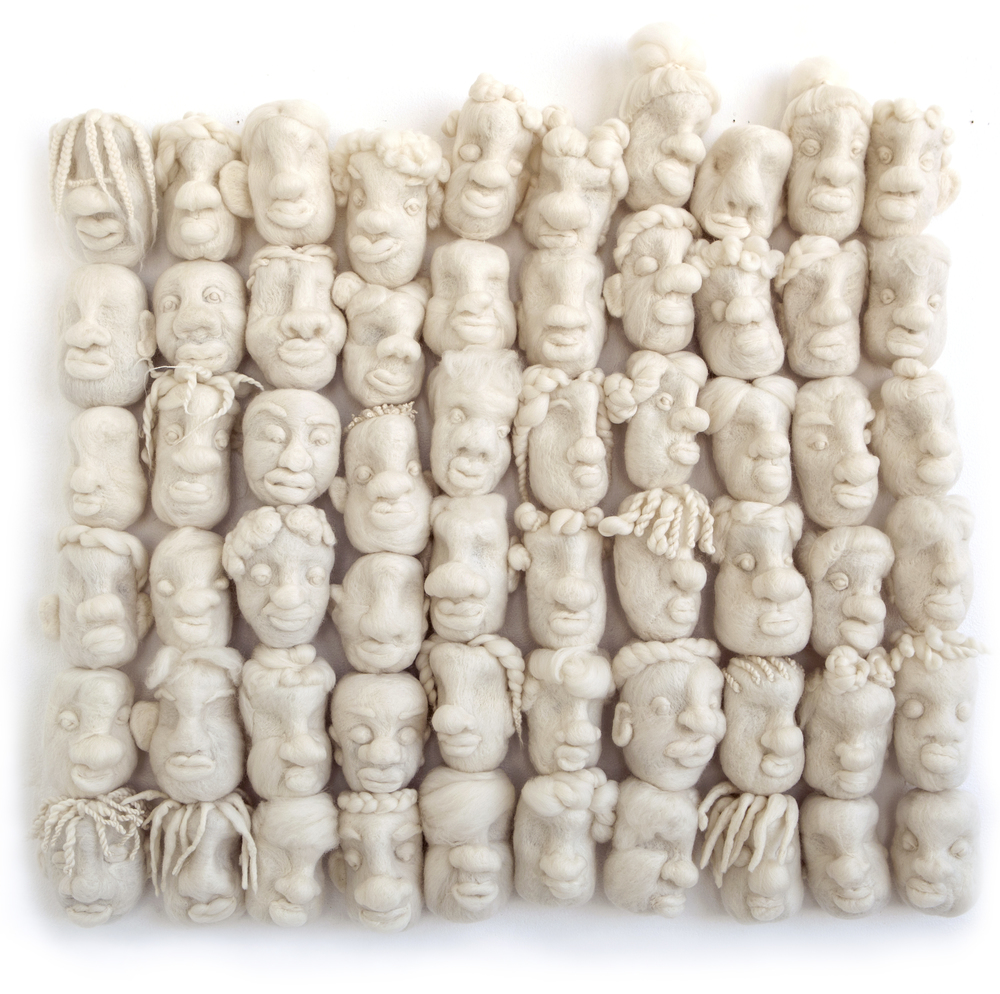 "Concealer| merino wool, wire | 31"" x 27"" x 3"" | 2016"
