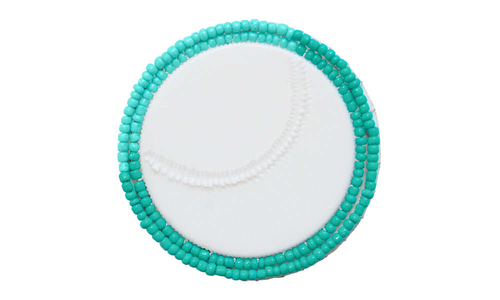 "Double Row Beaded Brooch,  reused pill bottle cap, cotton thread, plastic beads, steel pin back, approximately 2"" around, $135    Contact us for purchase"