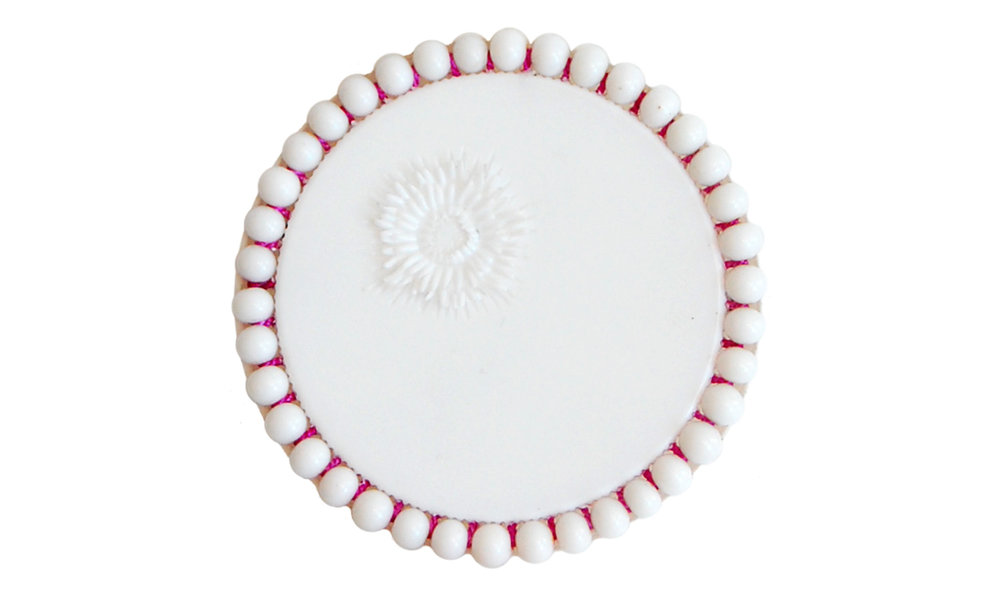 "Single Row Beaded Brooch,  reused pill bottle cap, cotton thread, plastic beads, steel pin back, approximately 2"" around, $120    Contact us for purchase"