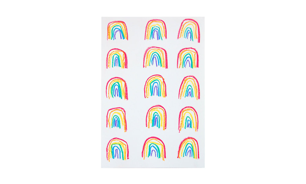 "Rainbows (small), mixed media on paper, 7.25"" x 10.25"", $100 Contact us for purchase"