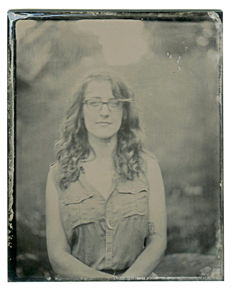 Tin type of Clara Cline at   Tredegar Ironworks, Richmond, Virginia.