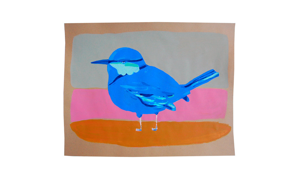 "Blue Bird,  gouache and acrylic on paper, 19"" x 25"", $450    Contact us for purchase"